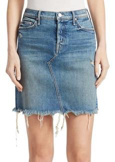 Mother Denim The Tomcat Frayed Denim Mini Skirt