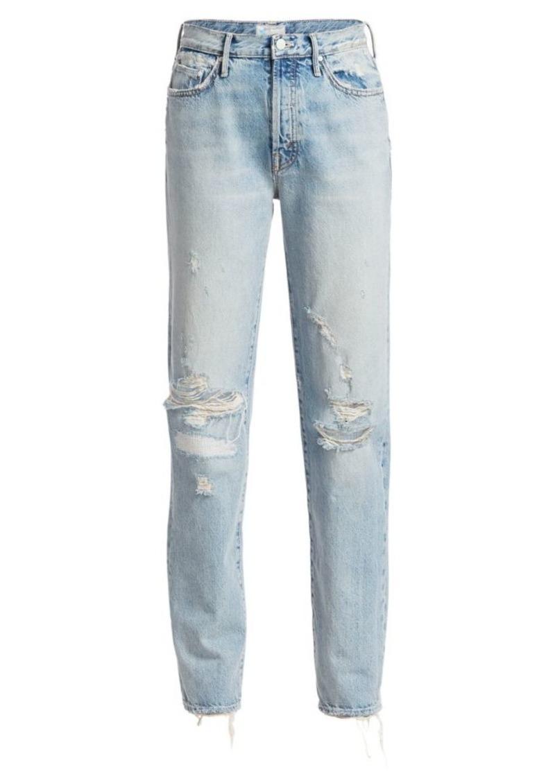 Mother Denim Trickster High-Rise Straight-Leg Distressed Jeans