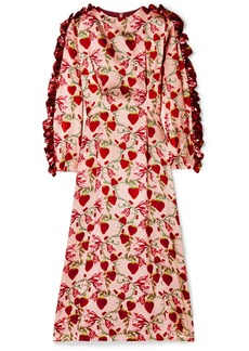 Mother Denim Wanda Ruffled Printed Silk-satin Midi Dress