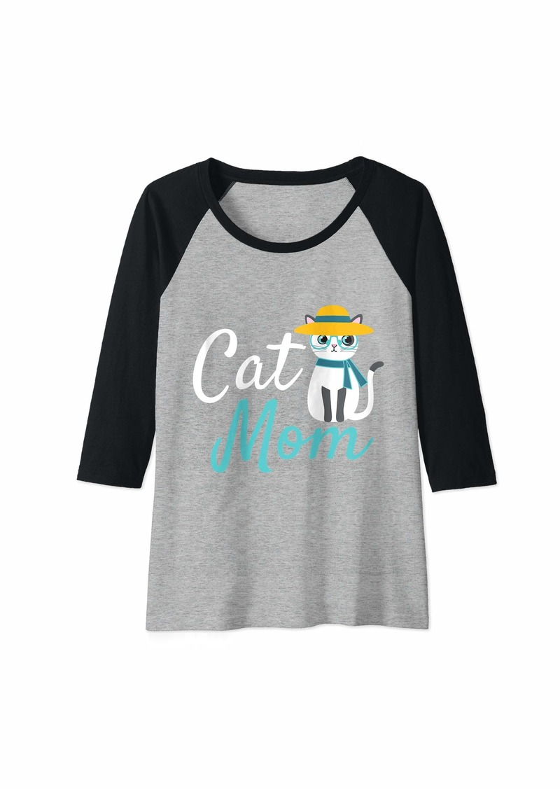 Mother Denim Womens Cat Mom Cute Kitty Hat Mother's Day Cats Love Gift Raglan Baseball Tee