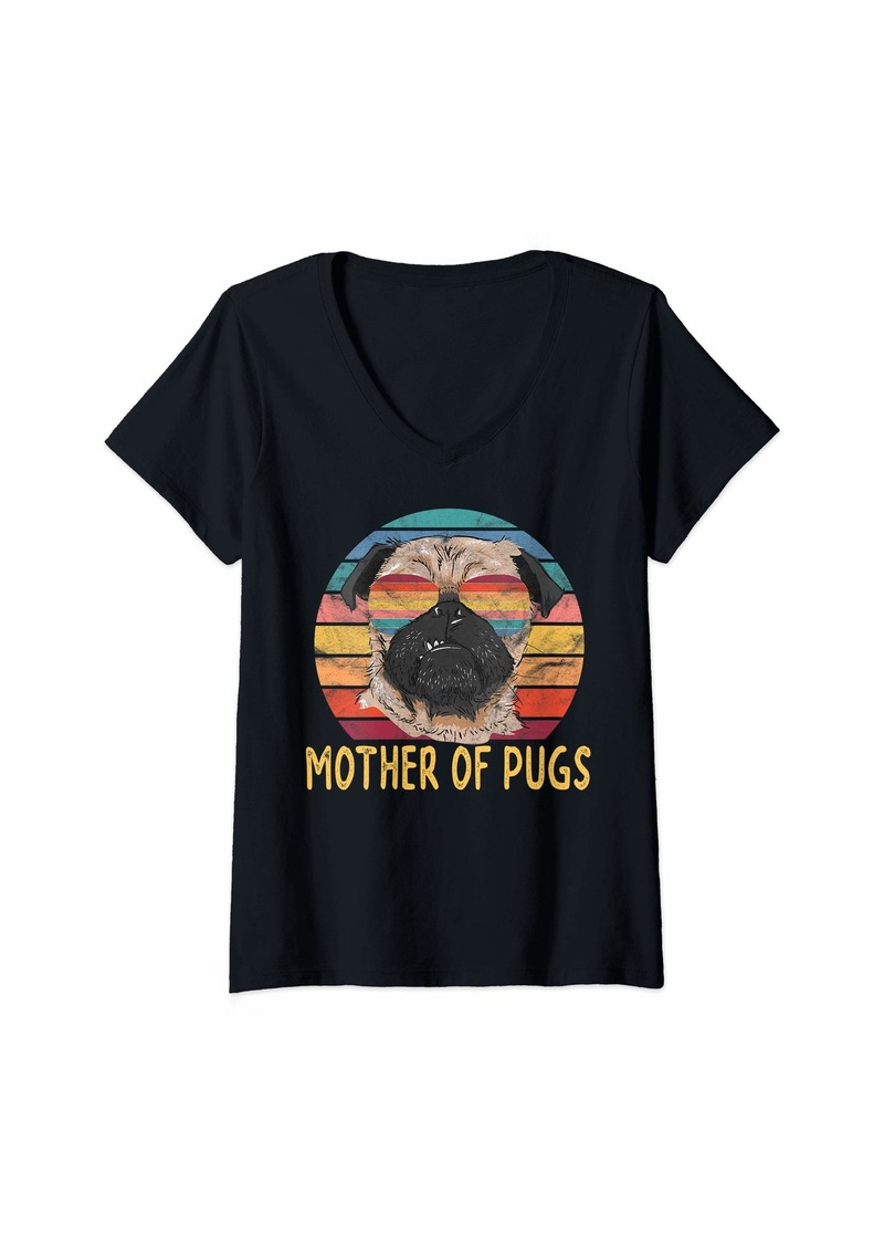 Mother Denim Womens Mother of Pugs Gift for Pug Dog Moms Retro Vintage V-Neck T-Shirt