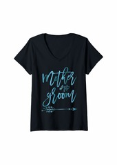 Mother Denim Womens Mother Of The Groom Arrow Teal For Bridal Party V-Neck T-Shirt