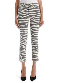 Mother Denim Women's Mother The Mid Rise Dazzler Zebra Print Crop Straight Leg Jeans