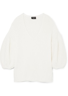 Mother Of Pearl Net Sustain Abela Ribbed Organic Cotton And Wool-blend Sweater