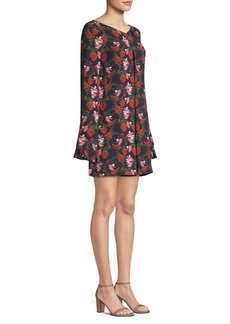 Mother Of Pearl Floral Bell Sleeve Mini Dress