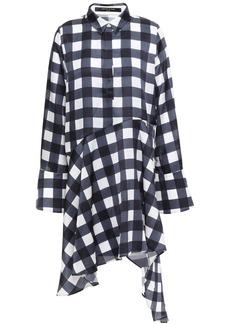 Mother Of Pearl Woman April Asymmetric Checked Satin Mini Shirt Dress Navy