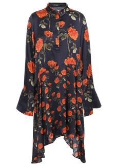 Mother Of Pearl Woman April Asymmetric Floral-print Satin Mini Shirt Dress Midnight Blue