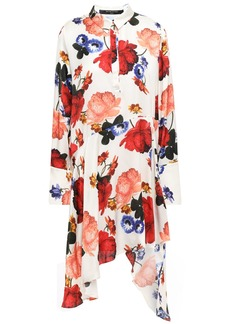 Mother Of Pearl Woman Asymmetric Floral-print Satin Dress Ivory