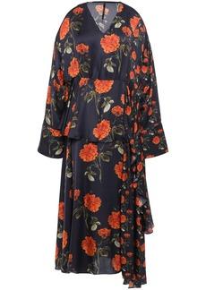 Mother Of Pearl Woman Asymmetric Floral-print Satin Midi Dress Midnight Blue