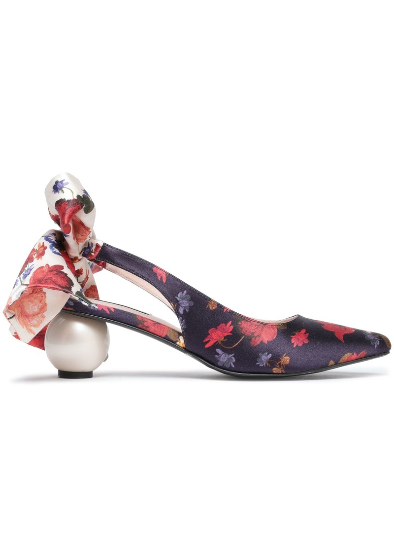 Mother Of Pearl Woman Bow-detailed Floral-print Satin Slingback Pumps Navy