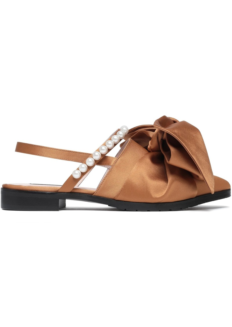 Mother Of Pearl Woman Chelsea Bow-embellished Satin Slingback Point-toe Flats Camel