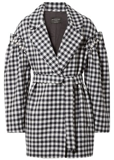 Mother Of Pearl Woman Emmett Belted Faux Pearl-embellished Gingham Wool Jacket Midnight Blue