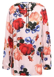 Mother Of Pearl Woman Floral-print Satin Hooded Top Baby Pink