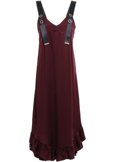 Mother Of Pearl Woman Florence Ruffle-trimmed Satin-crepe Midi Dress Burgundy