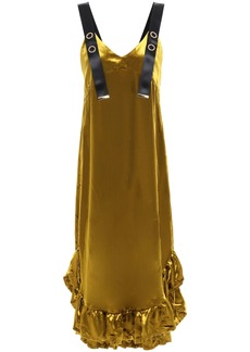 Mother Of Pearl Woman Florence Ruffle-trimmed Velvet Midi Dress Mustard