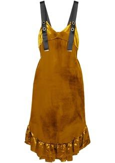 Mother Of Pearl Woman Florence Ruffled Velvet Midi Dress Mustard