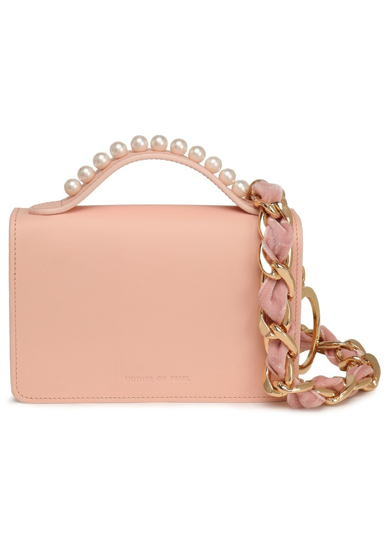 Mother Of Pearl Woman Jude Faux Pearl-embellished Leather Shoulder Bag Blush