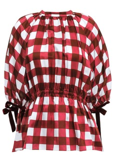 Mother Of Pearl Woman June Velvet-trimmed Checked Cotton And Silk-blend Top Crimson