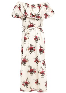 Mother Of Pearl Woman Layered Floral-print Cotton And Silk-blend Satin Midi Dress Ivory