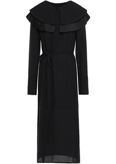Mother Of Pearl Woman Lennox Belted Pleated Textured-crepe Midi Dress Black