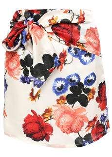 Mother Of Pearl Woman Tie-front Floral-print Silk-satin Mini Skirt Ivory