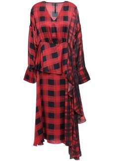 Mother Of Pearl Woman Veronica Asymmetric Layered Checked Satin Midi Dress Crimson