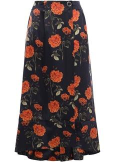 Mother Of Pearl Woman Wrap-effect Floral-print Silk-satin Midi Skirt Midnight Blue