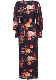 Mother Of Pearl Woman Zoe Velvet-trimmed Floral-print Hammered-satin Midi Dress Dark Purple