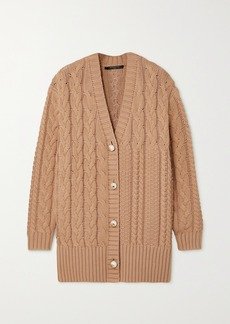 Mother Of Pearl Net Sustain Aria Cable-knit Organic Cotton And Wool-blend Cardigan
