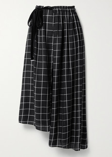 Mother Of Pearl Net Sustain Ruby Asymmetric Wrap-effect Checked Twill Midi Skirt
