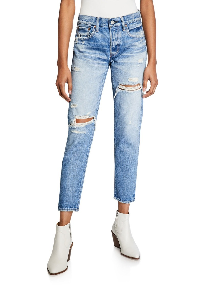 Moussy Bowie Tapered Distressed Jeans