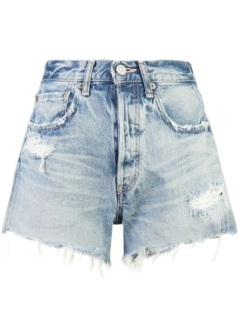 Moussy distressed effect shorts