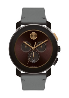 Movado 43.5mm Bold Watch with Leather Strap