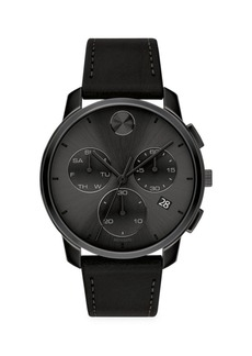 Movado BOLD Chronograph Stainless Steel & Leather Strap Watch