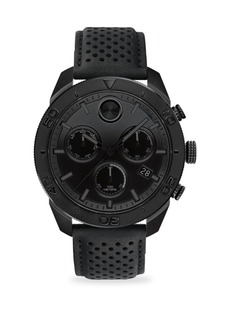 Movado Bold Round Ionic Plated Black Steel & Black Leather Chronograph Watch