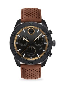 Movado Bold Round Ionic Plated Black Steel & Tan Leather Chronograph Watch