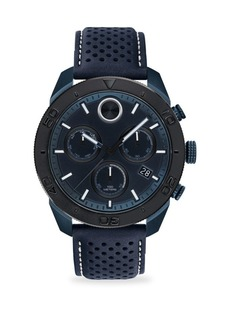 Movado Bold Round Ionic Plated Blue Steel & Blue Leather Chronograph Watch