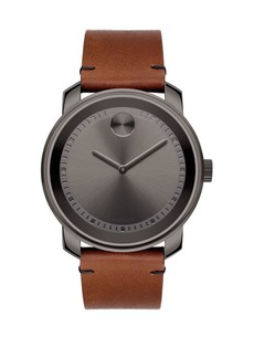 Movado BOLD Stainless Steel & Leather Strap Watch