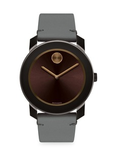 Bold Stainless Steel Leather Strap Watch