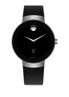 Movado Connect Bold Motion Silvertone & Black Silicone Strap Smart Watch