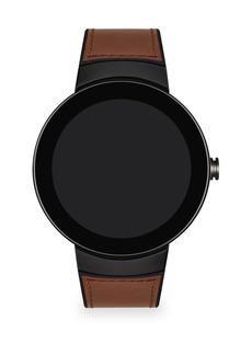 Movado Connect Dark Grey Stainless Steel Leather Strap Smart Watch