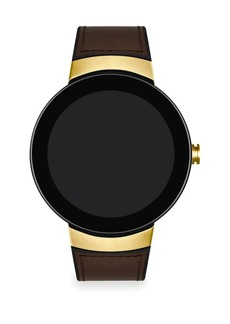 Movado Connect Light Goldtone Stainless Steel Leather Strap Smart Watch