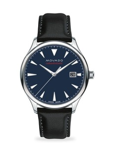 Movado Heritage Automatic Round Stainless Steel & Leather Strap Watch