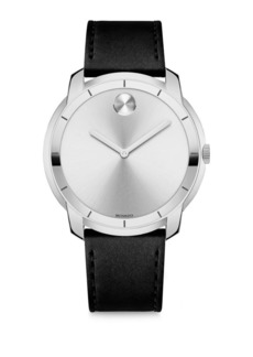Large Movado Bold Crystal & Stainless Steel Leather-Strap Watch