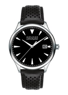 Movado Men's 40mm Heritage Calendoplan Watch with Black Leather Strap