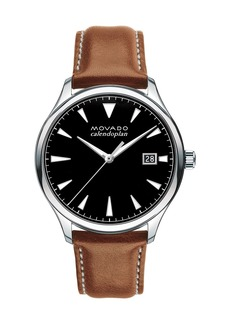 Movado Men's 40mm Heritage Calendoplan Watch with Leather Strap