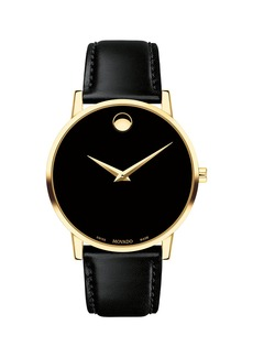 Movado Men's 40mm Ultra Slim PVD Watch with Black Leather Strap & Museum Dial