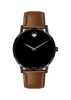 Movado Men's 40mm Ultra Slim PVD Watch with Leather Strap & Black Museum Dial