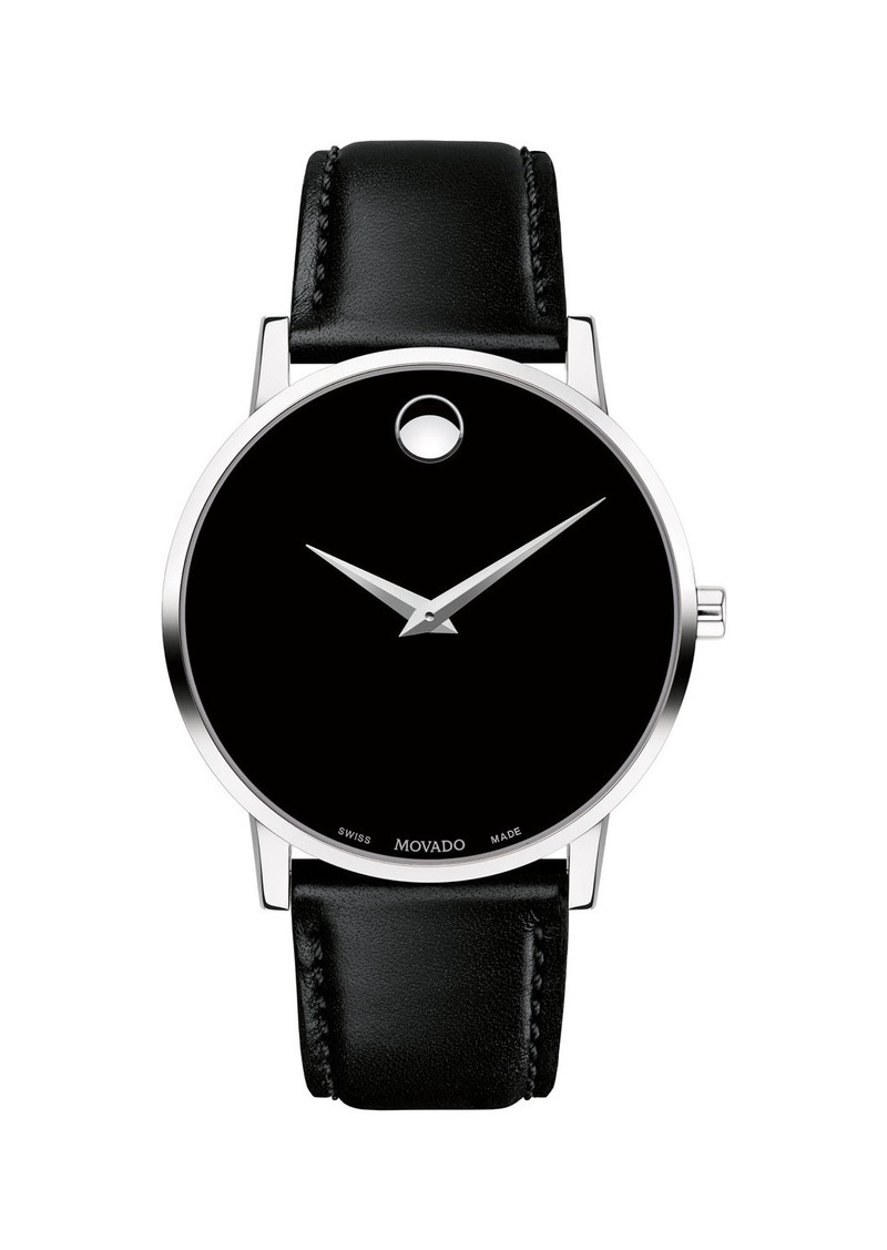 Movado Men's 40mm Ultra Slim Watch with Leather Strap & Black Museum Dial