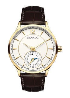 Movado Men's Circa Motion Swiss Quartz Embossed Strap Watch, 42mm